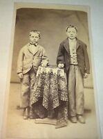 Rare Antique Victorian American Little Brothers, Dapper Fashion Boys CDV Photo!