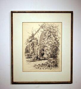 original pencil drawing, Sausalito garden architecture signed Muriel Hudson