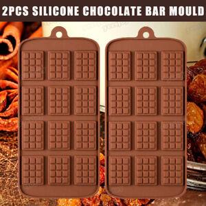 2Pcs Mini Chocolate Bar Mould Silicone Fondant Mould Cake Decorating Baking Mold