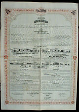 City of Constantinople 5% Municipal Loan 500 Frs 20 £ Gold 1913 uncanc. coupons