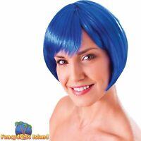 GIRLY GLAMOUR SHORT BLUE FLIRTY FLICK WIG Ladies Womens Fancy Dress Costume