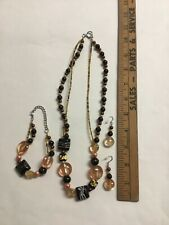 Glass Beads Black,Clear, B-2 Beautiful Matching Earrings,Necklace,Bracele t