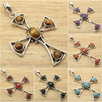 925 Silver Plated  Antique Style CROSS Pendant ! Real Gemstone Jewelry for Her