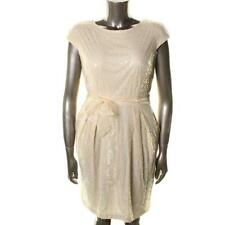 ALEX EVENINGS NEW Ivory Lace Cap Sleeves Knee-Length Party Dress 8