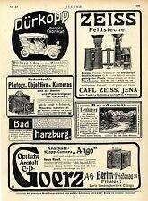 Dürkopp & Co. Bielefeld Opel Autos C.P. Goerz Berlin-Friedenau Klapp-Camera 1906
