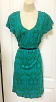 Banana Republic Size Small 4 6 Woman's Blue Green Soft Stretch Casual Dress