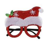 Merry Christmas Glittered Santa Hat Eyeglasses Birthday Cosplay Xmas Props