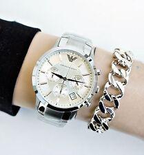 Original Emporio Armani AR2459 Sportivo Chronograph  Damenuhr Farbe:Silber  NEU