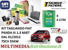 KIT TAGLIANDO FILTRI+ OLIO SELENIA WR 5W-30 FIAT PANDA 1.3 MULTIJET 75CV 55KW