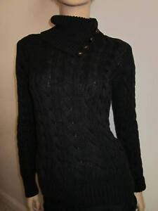 Ralph Lauren BLACK CABLE KNIT SWEATER NWT XS $398