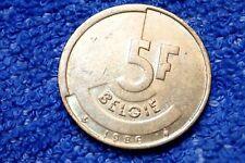 BELGIUM SCARCE 5 FRANCS 1986 EXTREMELY FINE! (FLEMMISH)