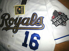 NEW WHITE KC ROYALS #16 BO JACKSON WS DUAL PATCH stitched Majestic wgold Jersey