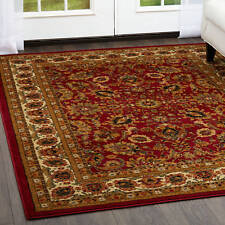 """Red Oriental Area Rug 8x10 Bordered Floral Scrolls Carpet - Actual 7'8"""" x 10'4"""""""