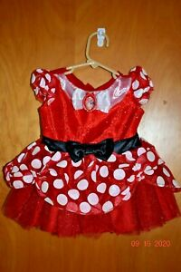 DISNEY MINNIE MOUSE COSTUME RED POLKA DOT DRESS -SIZE 12/18 mo             tag28