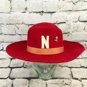 Vintage Rosemont Sz 7 1/8 Hat Red Wide Brim Panama 100% Wool Cap W/VTG Pin