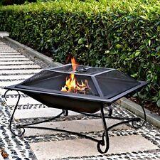 Fire Pit Wood Fireplace Square Steel Deck Backyard Heater Patio Outdoor Firepit