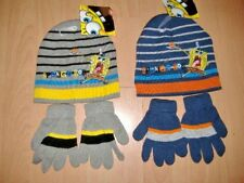 NEW BOYS SPONGEBOB HAT AND GLOVES SET APPROX AGES 2-4 YEARS 4-8 YEARS