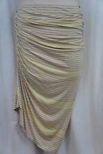 Studio M Skirt Sz M Heather Brown Yellow Striped Ruched Side Rayon Jersey Maxi
