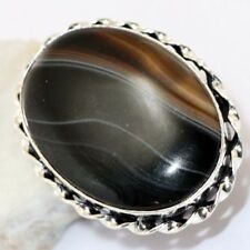 BANDED BLACK ONYX RING US 7 : T8524