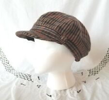D&Y Brown Plaid Wool Newsboy Cabbie Hat