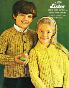 Girls Boys Knitting Pattern copy Jacket Cardigan CHUNKY 12 ply