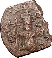 CONSTANS II 641AD Original Authentic Ancient BYZANTINE Follis Coin i54617