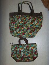 Very Cute Multi Colored Floral Print Thirty One Tote Bag & Insulated Lunch Tote