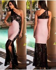 Abito lungo Spacco Pizzo Cerimonia Damigella Ballo Party Lace Evening Dress M