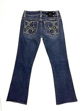 Miss Me Jeans Womens Size 27 Bootcut Medal Studded Rhinestone Rear Pockets (L)