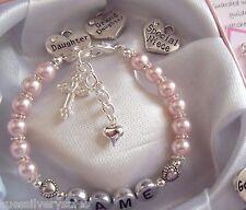 Flower girl / Bridesmaid present gift boxed personalised bracelet