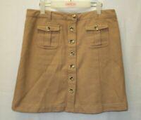 Portmans Straight Skirt Size 14 Wool Blend Brown Khaki Basic Work Wear