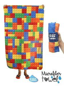 "Blocks Lego Beach Sport Towel made  Microfiber Absorbent 32 x 81"""