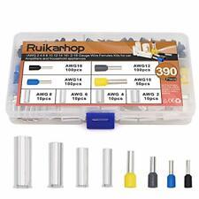 Ruikarhop 390pcs Awg 2 4 6 8 10 12 14 16 Wire Ferrules Kits Crimp Terminal
