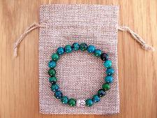 Silver Buddha Head, Azurite Chrysocolla Beaded Bracelet & Jute Gift Bag