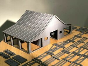 HO Scale Barn with accessories (Double sided) 3D printed kit High Detail (Gray)