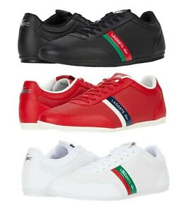 LACOSTE Storda 0120  Men's Casual Leather Fashion Shoes Sneakers Black Red White