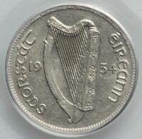 Irish Free State Sixpence 6D 1934 Hound and Harp PCGS AU55