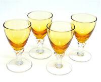 Set Of (4) Murano Amber Glass CORDIAL GLASSES Wine Shot Glass Sherry Twist Stems