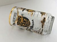 Canadian New Brunswick Mug Glass Stein w/Crest Gold Rimmed Vintage Names Places