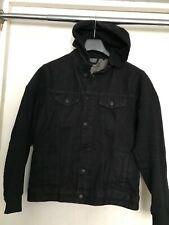 PRIMARK DENIM HOODIE JACKET BLACK MENS XS / S -Detachable Hood STYISH COOL Cheap