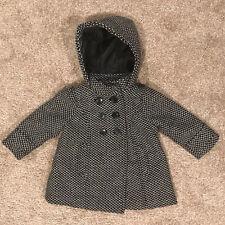Old Navy Girls Winter Black & White Gingham Pea Coat Jacket Sz 12-18m