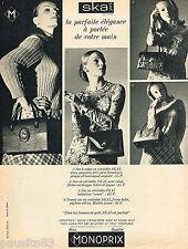 PUBLICITE ADVERTISING 055  1966  MONOPRIX  les sacs SKAI