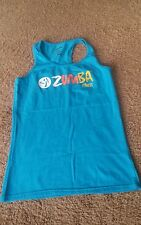 Womens Zumba wear racerback tank top shirt size L aqua
