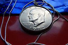"USA Large Ike Dollar Coin Bezel Pendant 30"" .925 Sterling Silver Snake Chain"