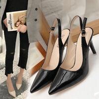 New Women Buckle Slingback Sandals Ladies Work Smart High Heel Pointed Toe Shoes