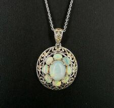 Necklace Silver Gilson Opal Stone Gold Vermeil Accent Sterling 925 Pendant Chain