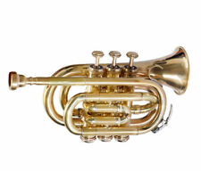 Bb POCKET TRUMPET GUARANTEE QUALITY SOUND**VALUEABLE! BRASS FINISHING+W/CASE+M/P