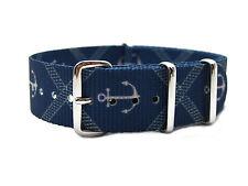 HNS Zulu 18/20/22mm Graphic Printed Anchors Blue BG Diver Nylon Mod Watch Strap