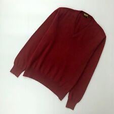 $1200 Loro Piana Men BABY CASHMERE Red V Neck Sweater Jumper Knitwear Size 50 L