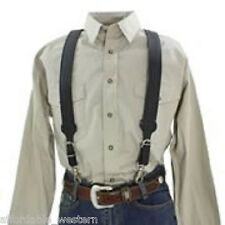 Nocona BasketWeave Tooled ~LEATHER SUSPENDERS~ Ajustable Galluses w/Trigger Snap